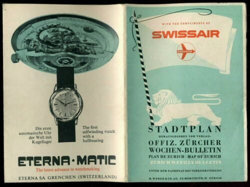 Vintage 1958 Advertising Wrist Watches in Swiss Air Booklet  #1