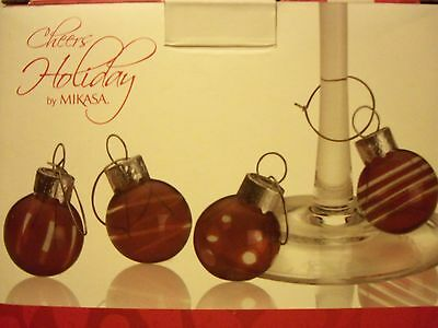 New! Cheers Holiday by Mikasa Wine Charms Set of 4 Ruby Ornaments 1 Inch (Holiday Wine Charms)