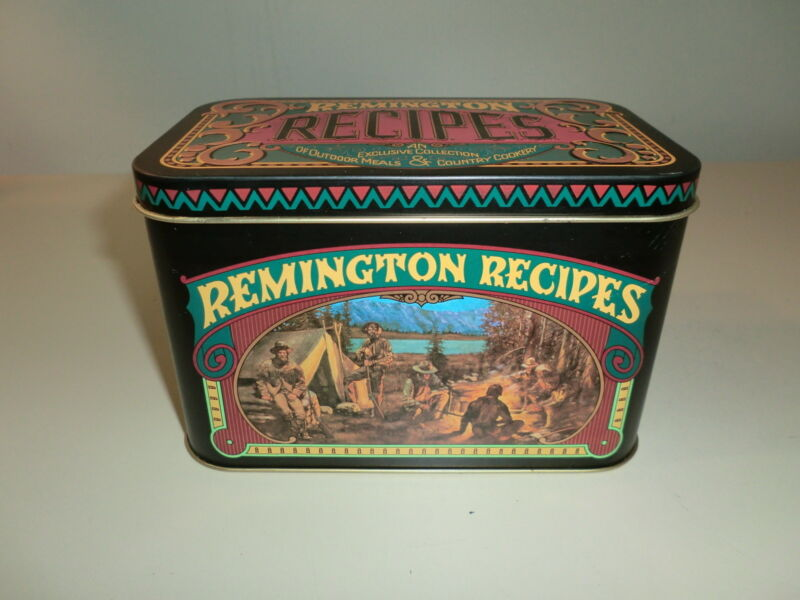 Remington Collection of Outdoor and Game Recipe Cards and Tin 1970