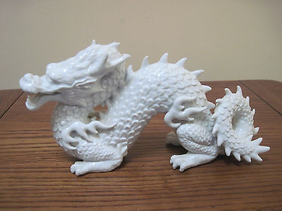 FITZ FLOYD VINTAGE WHITE PORCELAIN CHINESE DRAGON STATUE FIGURINE w STICKER