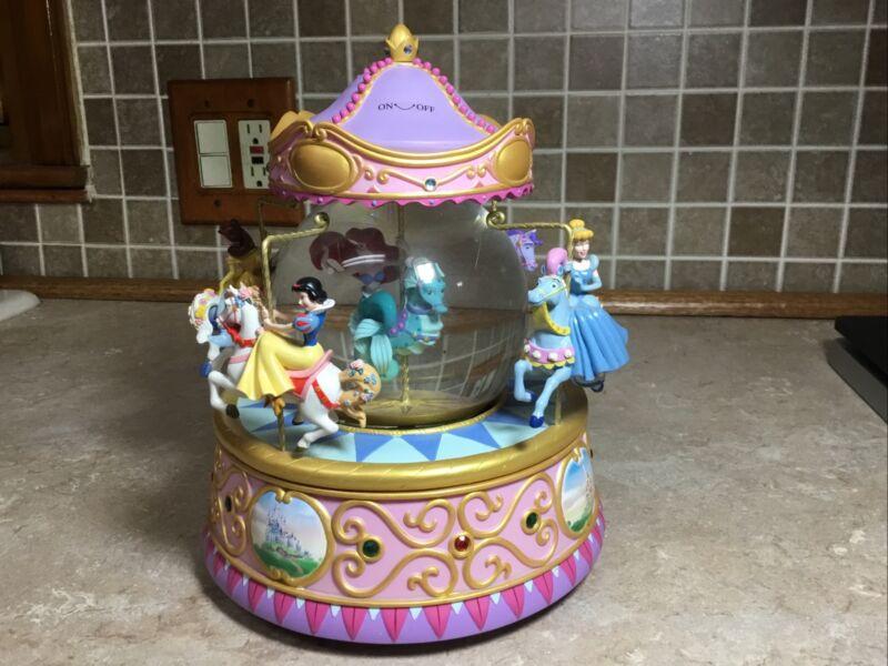 "Disney Ariel & Princesses Snow Globe Carousel Music Box Animated 6 Pounds 10"""