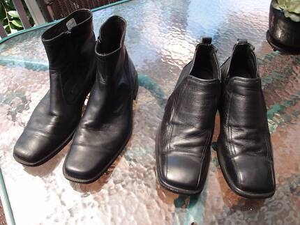 2 Pairs Mens Black Leather Ankle Boots Shoes - Size 42 (8) EUC