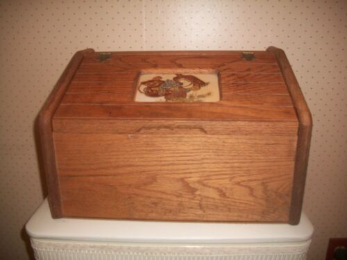 """Vtg Wooden Bread Box Lift-Top Door w/Hinges~Heavy 16""""x10 1/2""""x10 1/2~1970"""