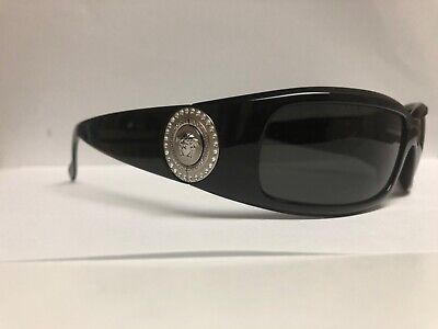 VERSACE 4044-B Sunglasses Black/Silver Coin Swarovski Crystals Medusa Wrap RARE.