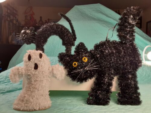 3 Tinsel Halloween Decorations 2 Shiny Black Cats 1 Ghost