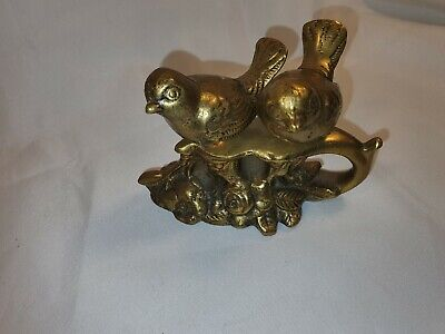 Vintage Brass Two Small Birds on a Stand With Flowers In Great Condition