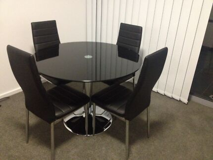 Dining table glass black round Weston Creek Preview