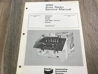 1969 FORD GALAXIE AM/FM STEREO USED BENDIX AUTO RADIO SERVICE MANUAL (24 PAGES)