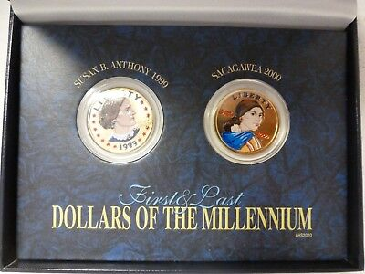 Colorized First And Last Dollars Of The Millennium Set W/Case & COA