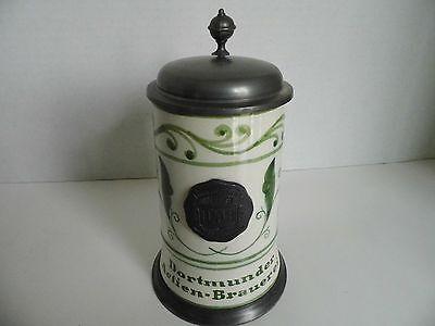 Vintage DAB Dortmunder Beer Stein Actien Brauerei Germany Pottery Lidded RARE