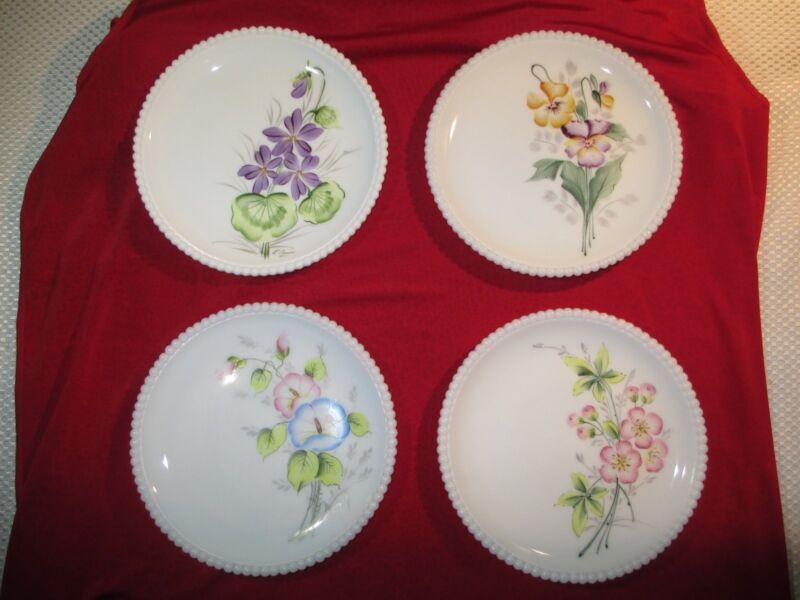 Vintage Westmoreland Hand Painted Flower Milk Glass Plates 1971 (Set of 4)