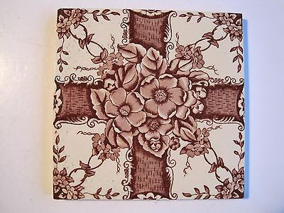 ANTIQUE VICTORIAN MARSDEN WALL TILE BROWN AESTHETIC PRINT ON CREAM c.1895