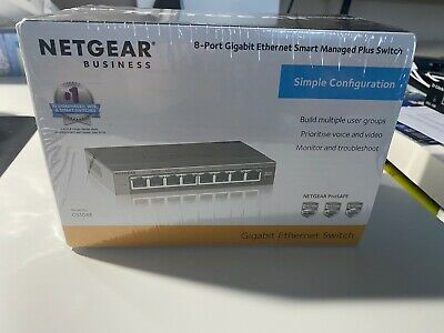 NETGEAR Business GS108E 8-Port Gigabit Ethernet Smart Managed Plus Switch !NEU!