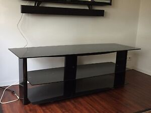 3 Tier Black Tempered Glass TV Cabinet / Stand Woodside Adelaide Hills Preview