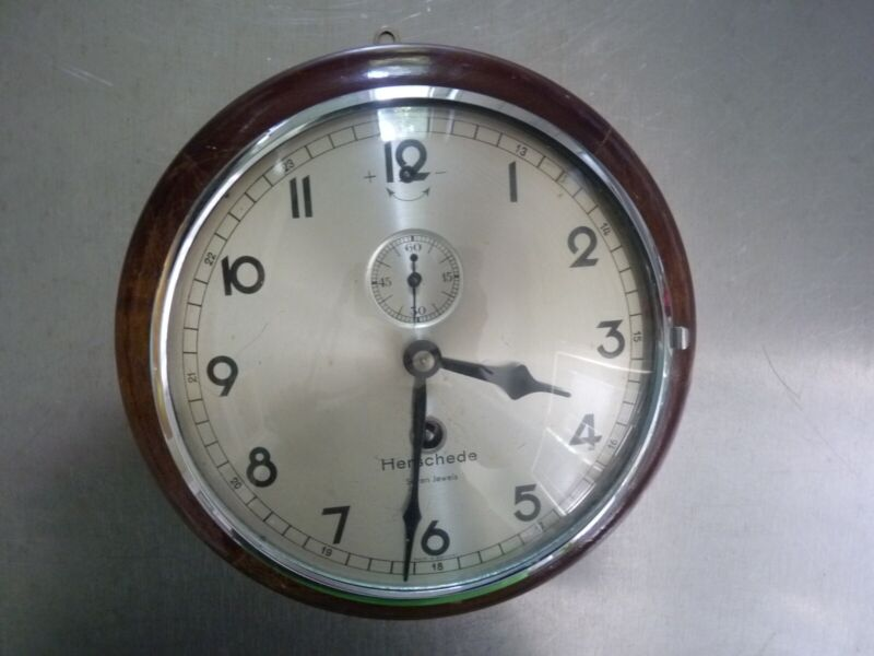 Vintage Mechanical Herschede Round Wall Ships Clock