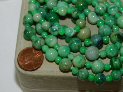 """Jade Green White Stone Knotted Graduated Bead X Long 36 """" Necklace 7L 47"""