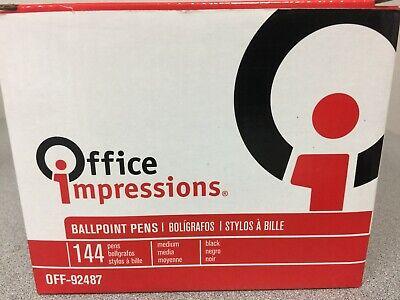 Office Impressions Off92487 Economy Stick Ballpoint Pen Black Ink 1 Mm 144pa