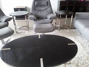 Black Oval Coffee and 2 x Round Side Tables set - Harvey Norman Pagewood Botany Bay Area Preview