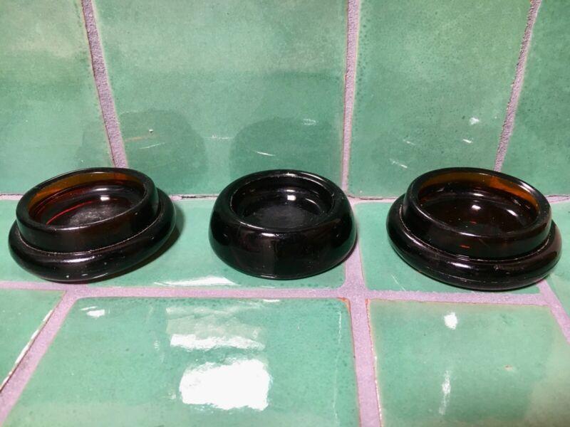"""3-Vintage Amber Glass Hazel Atlas Furniture Coasters-2-3/8-2-1/2"""" Base, No Chips"""