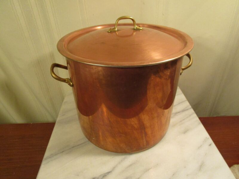 COPRAL Copper Stock Pot with Lid Brass Handles - Portugal - 8 Quarts