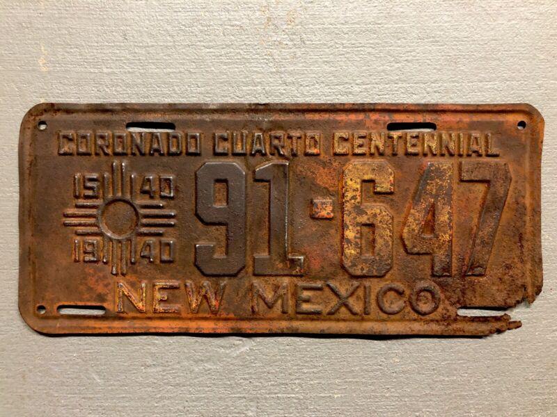 VINTAGE 1940 NEW MEXICO LICENSE PLATE CORONADO CUARTO CENTENNIAL 91-647 RARE!!