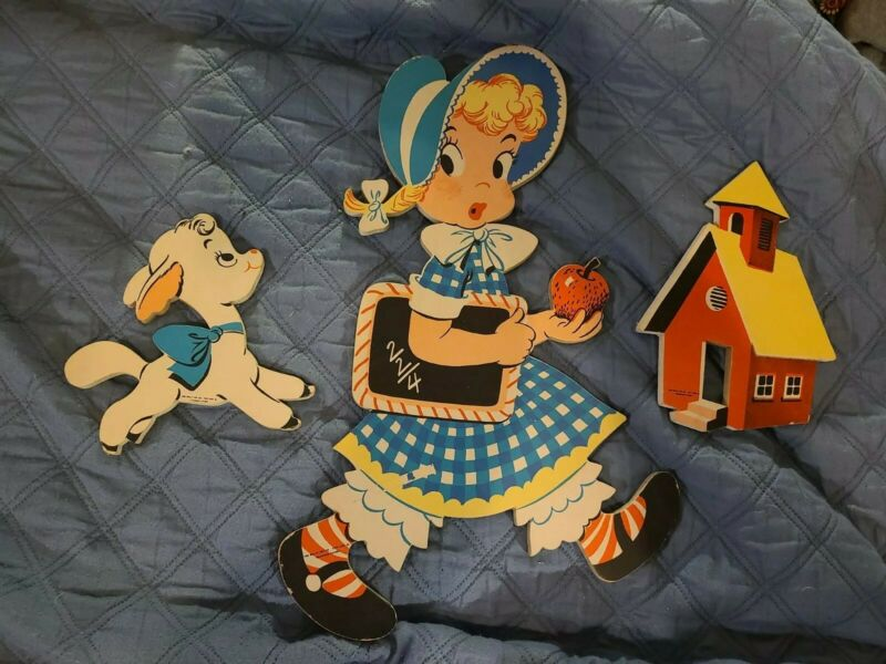 "Dolly Toy Co. 1950s Cutout Wall Hanging, ""Mary Had A Little Lamb"" Complete Set"