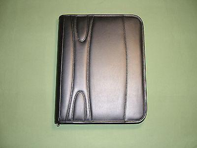 2 Dozen (24) Simulated Leather 3-Ring Binder Portfolio Padfolio Zipper Black-New 2' Zipper Binder Portfolio