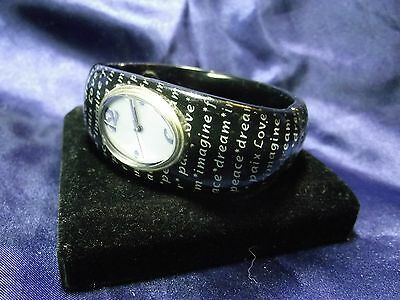 Woman's Quartz Cuff with Love,Peace, Dreams ect. on Band **Nice** B24 Dreams Cuff Watch