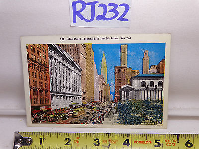 VINTAGE 1936 POSTCARD NEW YORK CITY 42ND STREET LOOKING EAST ON 6TH (42nd Street 6th Avenue)