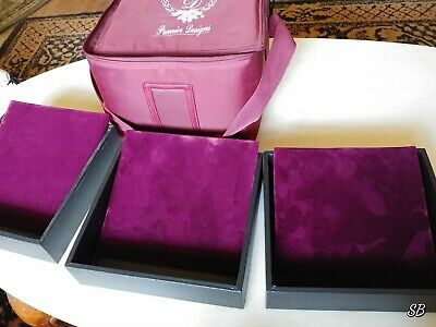 Premier Designs Jewelry Travel Carrying Case 3 Stackable Trays Display Pads