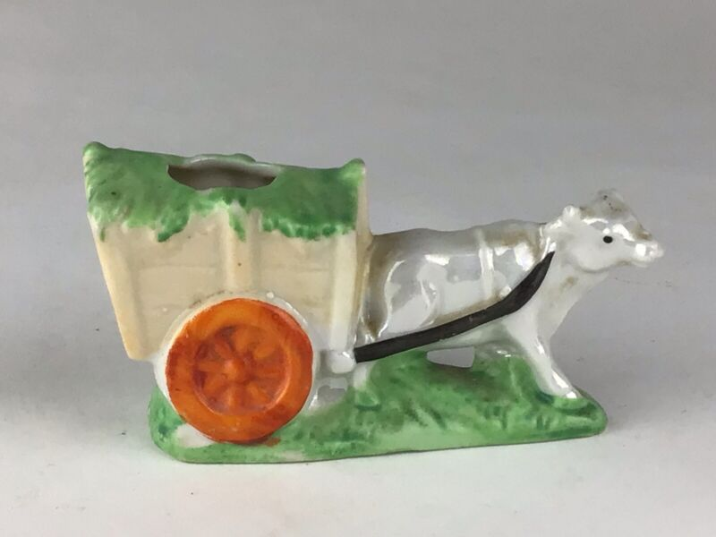 Vintage Lusterware Figural White Cow Pulling Cart Pin Cushion Made In Japan