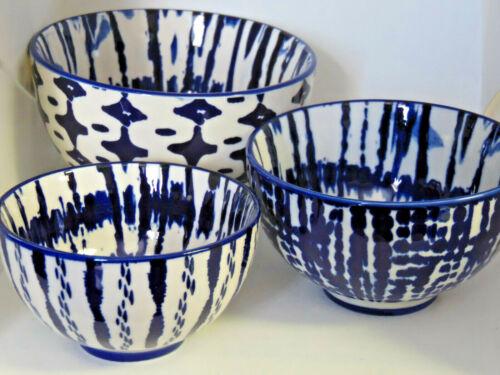West Elm Indigo Tie Dye Bowls Stoneware Set of 3 New with Original Box