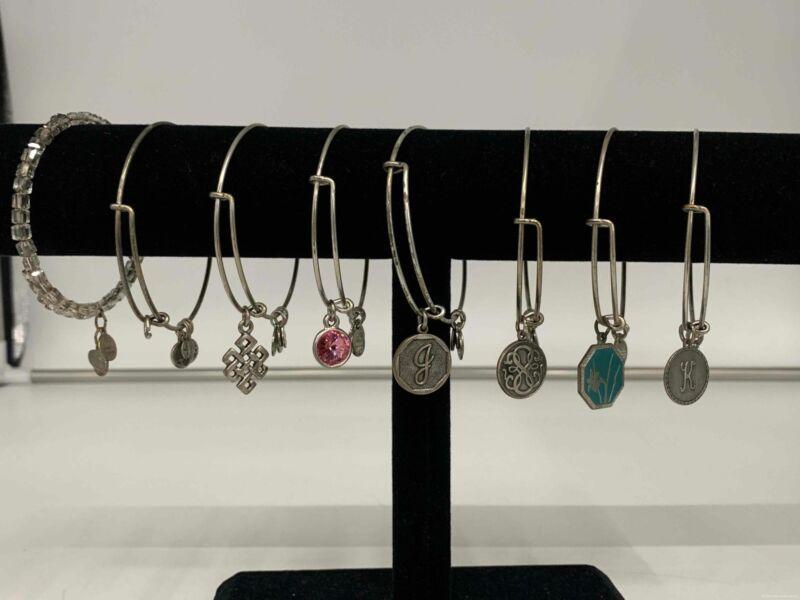 Lot of 8 Silver Tone Alex & Ani Silver Tone Charm Bracelets