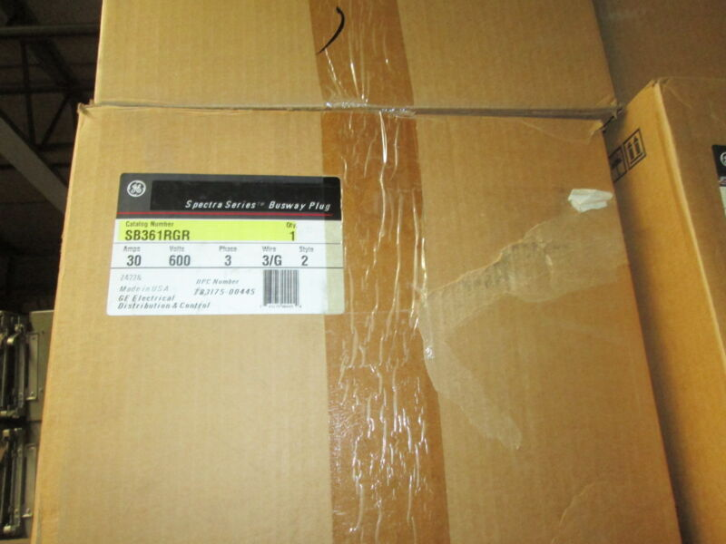 Ge Spectra Sb361rgr 30a 600v 3w W/ Ground Fusible Busplug - New