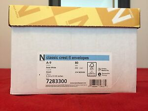 Neenah Paper A-9 Solar White 5 3/4 x 8 3/4  Envelopes