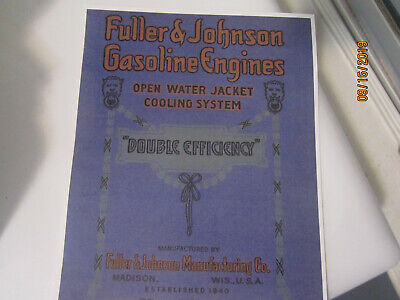 1910 Fullerjohnson Double Efficiency Gasoline Engines Catalog All Sizes