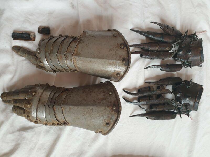 (Antique?) Gauntlets Armours TWO PAIRS European Japanese Chinese Ninja Samurai