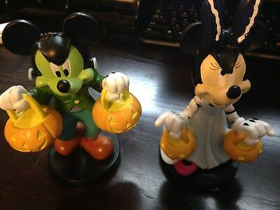 NEW DISNEY HALLOWEEN MICKEY AND MINNIE MOUSE SPOOKY FIGURINES WITH FREE SHIPPING