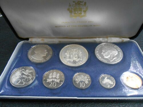 1974 Jamaica 8 Coin Proof Set .925 Silver $10 and $5 Coin-Franklin Mint- W/Box