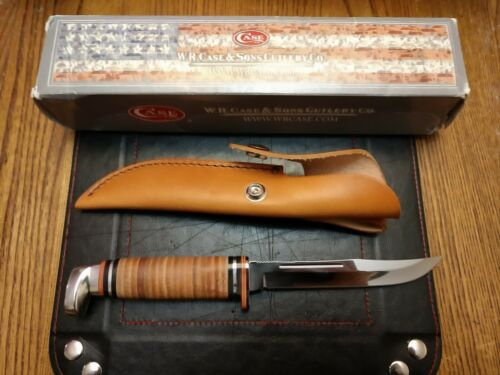 Case Xx Fixed Blade Hunter Polished Leather Handle SS Blade Leather Sheath 00381 - $70.00