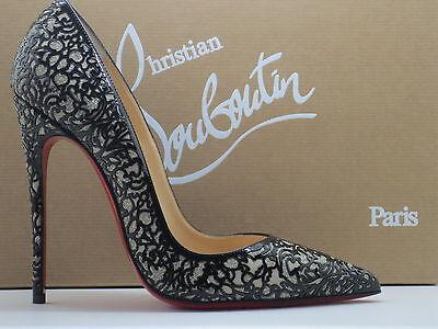 $1395 Christian Louboutin So Pretty Black Patent Leather Glitter Pump Shoes 38