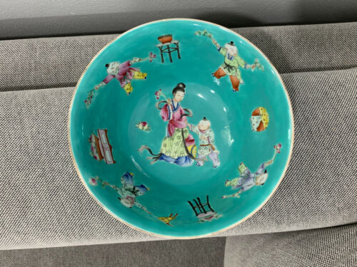 Antique Chinese Turquoise Blue Glazed Bowl Women Children Dec. w/ Jiaqing Mark