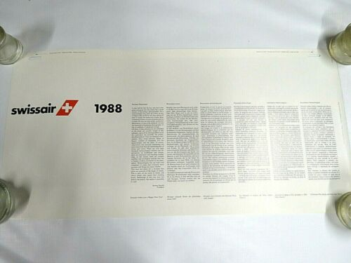 "Rare Vintage 1988 SwissAir Hanging Wall Calendar 15"" x 31"""