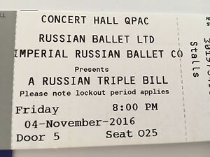 2 x Russian Triple Bill ballet tickets Friday 4 November 2016 Bundall Gold Coast City Preview