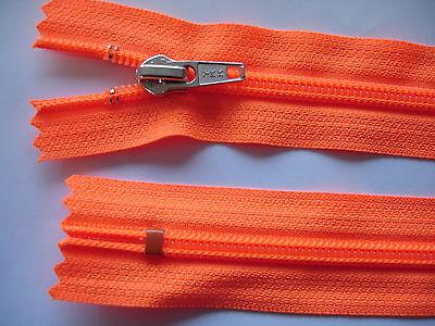 2 Stück Reißverschluß YKK leuchtrotorange  30cm lang, nicht teilbar Y71