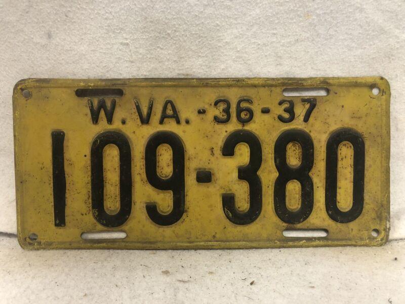 Vintage 1936-1937 West Virginia License Plate