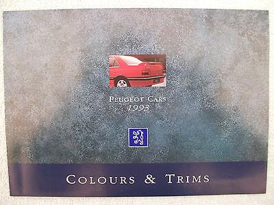 Peugeot Colours & Trims brochure 1993 - 106,205,309,405,605 - see text for list