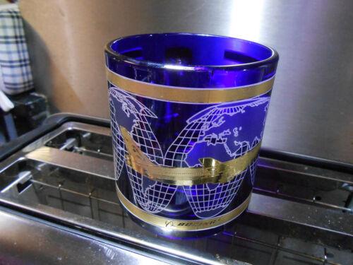 Beautiful Vintage Boeing GLASS Coffee Mug Cobalt Blue Gold Trim Airplane 767