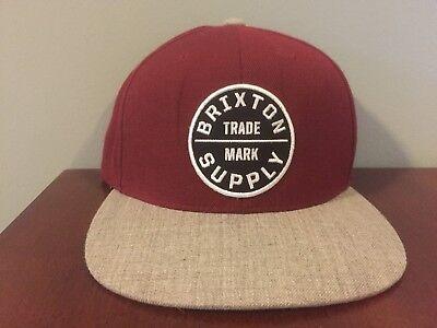 Brixton Supply Trade Mark Hat Maroon Adjustable Snapback Embroidered Logo