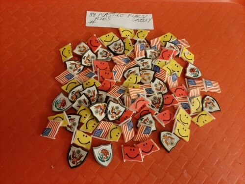 VINTAGE GUMBALL/VENDING PLASTIC FLAGS/SHIELDS PINS LOT OF 88  PRICED TO SELL